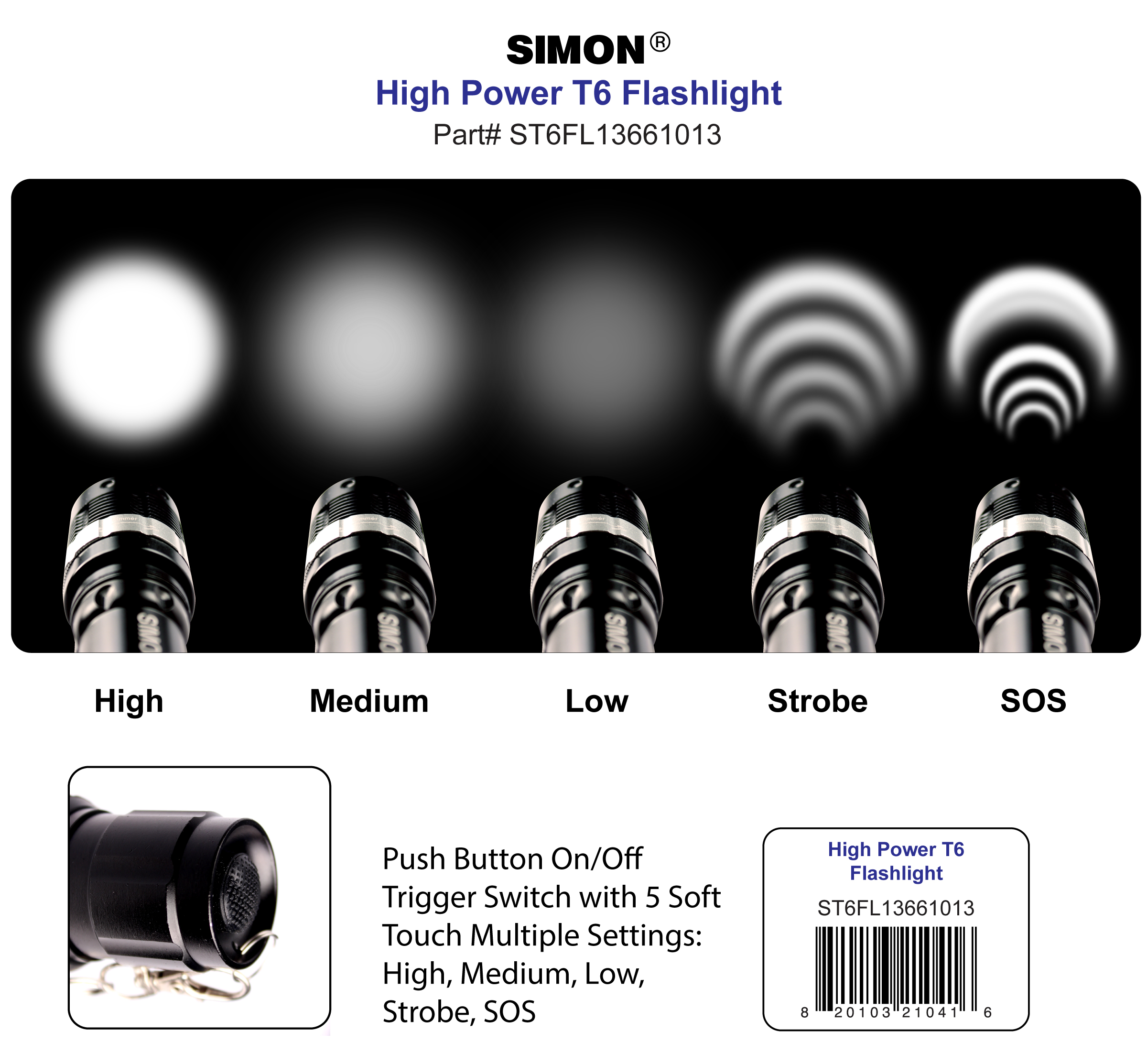 5 Modes - Simon Cree LED Flashlight T6 Pro