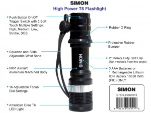 Simon Cree Law Enforcement LED Flashlight A T6