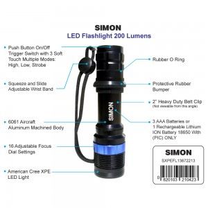 Adjustable 200 Lumens Cree XPE